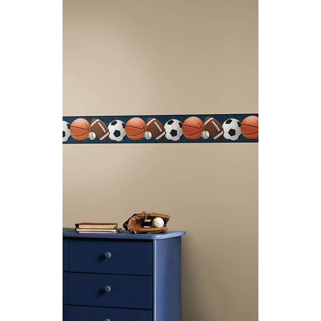 Roommates Sports Balls Peel and Stick Wallpaper Border Removable Kids Room Decor - Soccer Football Basketball Wall Decor Kids Border Sticker