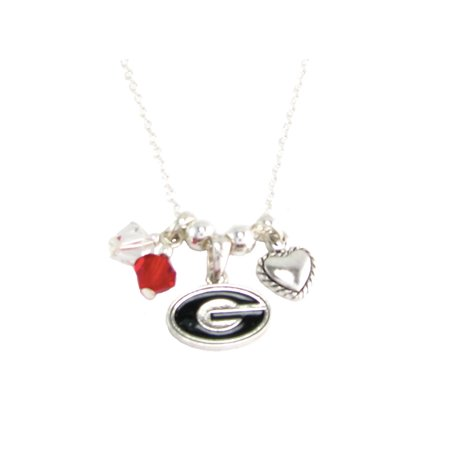 Georgia Bulldogs Austrian Crystal Silver Chain Red Charm Necklace Jewelry UGA.