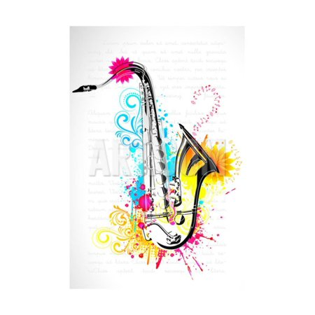 Illustration of Saxophone on Abstract Floral Background Print Wall Art By vectomart