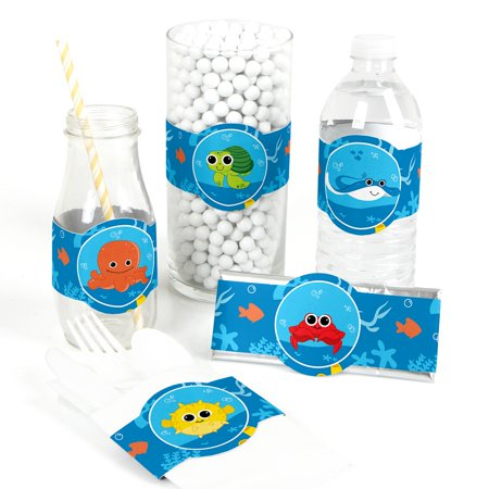 Under The Sea Critters - DIY Party Supplies - Baby Shower or Birthday Party DIY Wrapper Favors & Decorations - Set of - Under The Sea Party Supplies