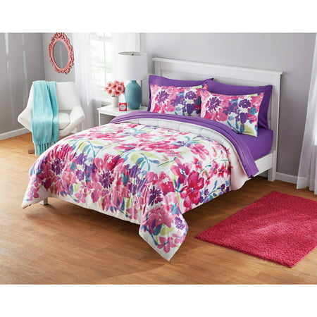 Your Zone Printed Watercolor Floral Comforter Set, 1