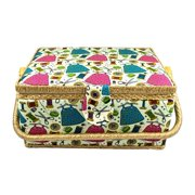 Large Fabric Covered Sewing Basket with Insert Tray and Accessories  Item 1475