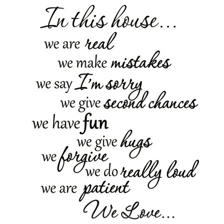 VWAQ In This House We Do Wall Decals Family Rules Quotes Sayings Vinyl Wall Art Stickers