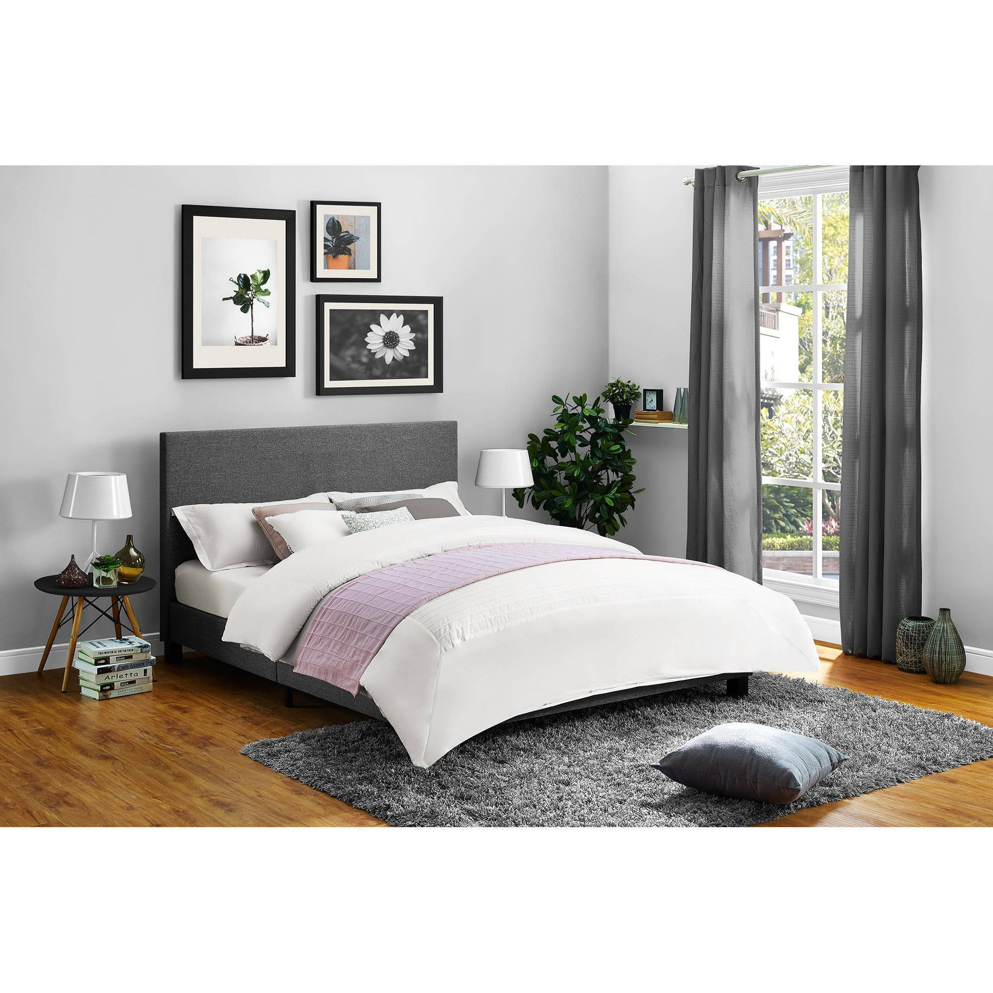 Mainstays Upholstered Bed, Multiple Colors, Queen