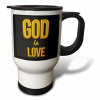 3dRose GOD IS LOVE. 3d Text Art. Verse from 1 John on grey background - Travel Mug, 14-ounce, Stainless Steel
