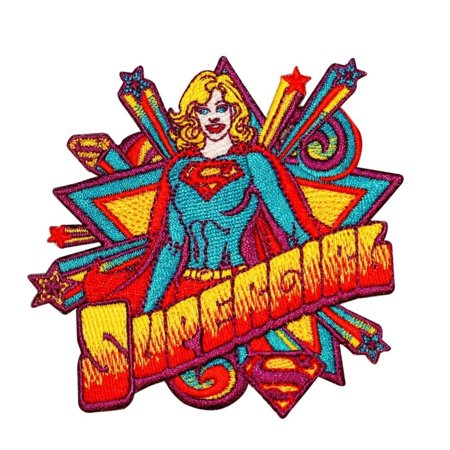 Supergirl Starburst Patch Superman Comics Superhero Girl DC Fan Iron-On Applique