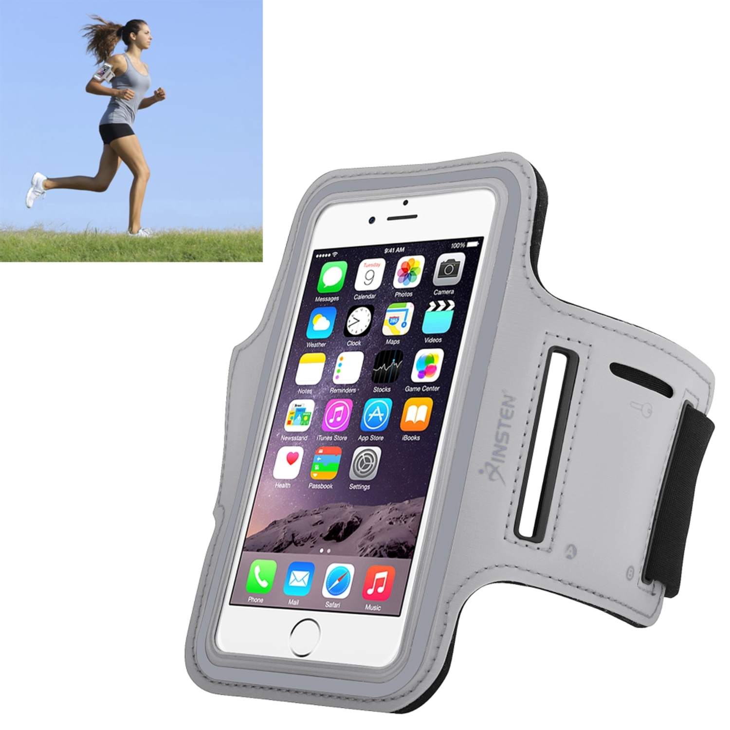 Insten Sports Armband Running Jogging Gym Exercise Case Phone Holder for iPhone 6 6S / Galaxy S7 S6 S6 Edge (with key storage slot) Silver