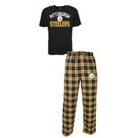 Pittsburgh Steelers NFL Roster 2 Men's T-shirt & Flannel Pajama Pants Sleep Set