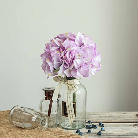 Efavormart 5 Pack | 25 Heads Silk Hydrangea Artificial Flower Bushes Wedding Arrangements