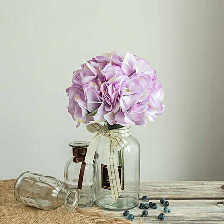 Efavormart 5 Pack | 25 Heads Silk Hydrangea Artificial Flower Bushes Wedding Arrangements (Tri Color Gold Plumeria Flower)