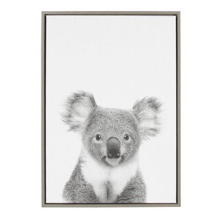 Kate and Laurel Sylvie Koala Animal Print Black and White Portrait Framed Canvas Wall Art by Simon Te Tai, 23x33 Gray