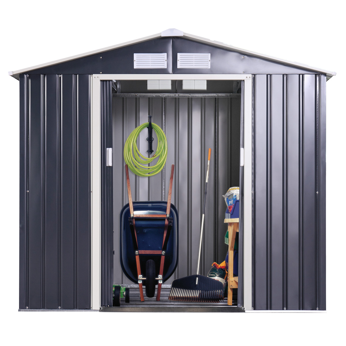 9 x 6 Ft Metal Garden Utility Storage Shed Outdoor Backyard Heavy Duty Tool House Dark Gray