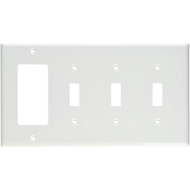 New Leviton 80732-W 4-Gang 3-Toggle 1-Decora//GFCI Device Combination Wallplat..