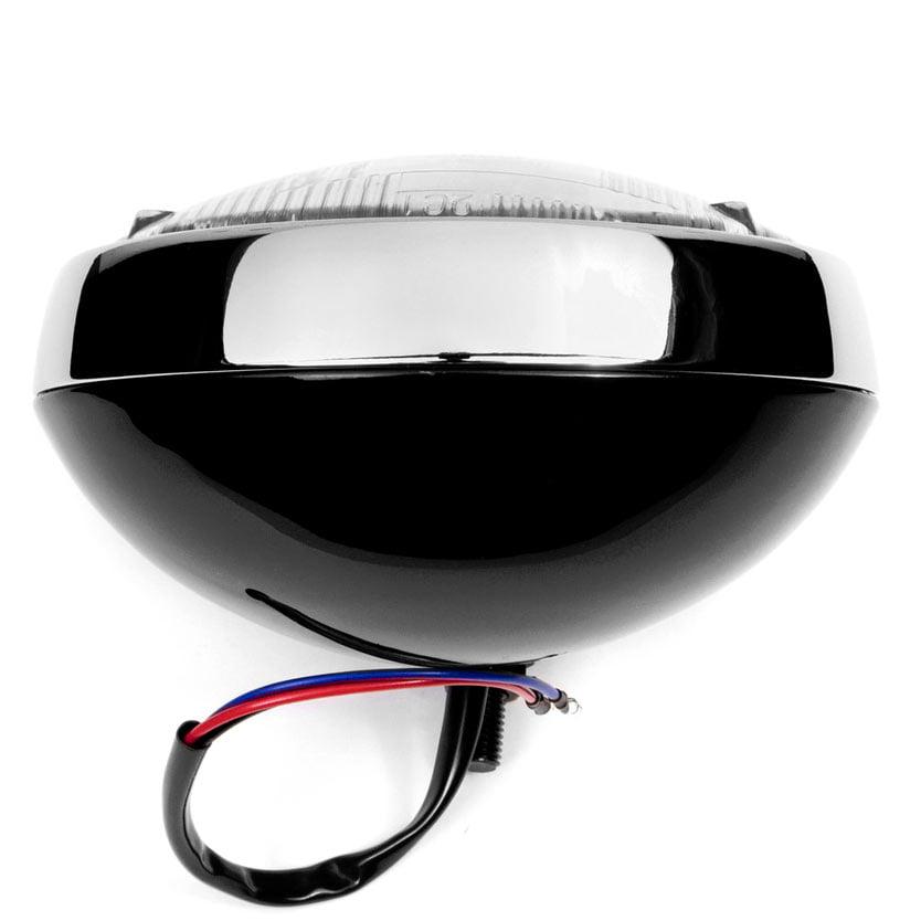 "Krator 6"" Black w/ Chrome Ring Motorcycle Headlight Bottom Mount Running Light Hi/Lo for Honda Gold Wing Goldwing 1200 1500 1800 - image 1 of 8"