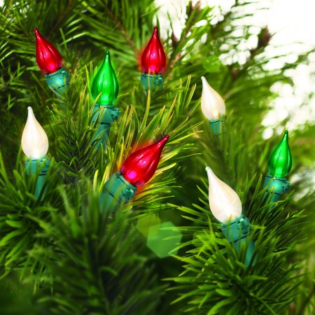 holiday time led glass c3 light set green wire pearlized warm white pearlized grn - C3 Led Christmas Lights
