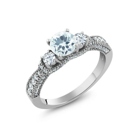 1.67 Ct Round Sky Blue Aquamarine White Topaz 925 Sterling Silver Ring Aquamarine Blue Topaz Ring