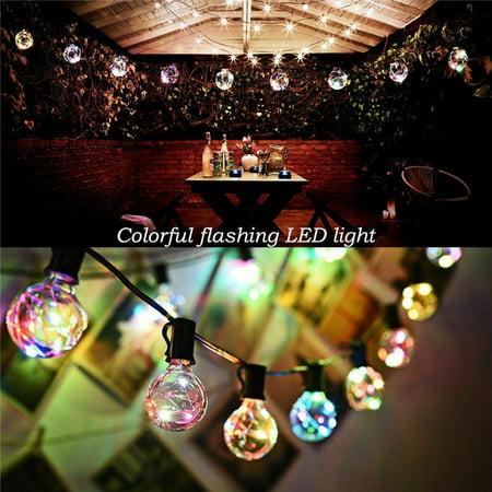 50ft Outdoor G40 Globe String Lights with 50 Clear Bulbs, Edison String Light for Wedding Patio Backyard Pergola Garden Party Cafe Bistro Deckyard Umbrella Christmas Decoration, Black ()