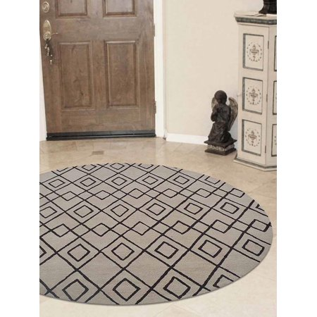 Rugsotic Carpets Hand Tufted Wool 8'x8' Round Area Rug Geometric Cream Brown K04510 ()