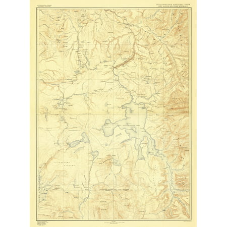 Topographical Map - Yellowstone National Park Wyoming - USGS 1885 - 23 x  31.27