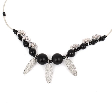 Lady Black Beads Silver Tone Leaf Shape Pendant Party Bib Necklace