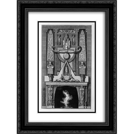 Giovanni Battista Piranesi 2x Matted 20x24 Black Ornate Framed Art Print 'Egyptian-style fireplace, on the floor between two obelisks and a number of decorative elements, two sphinxes crouching' ()