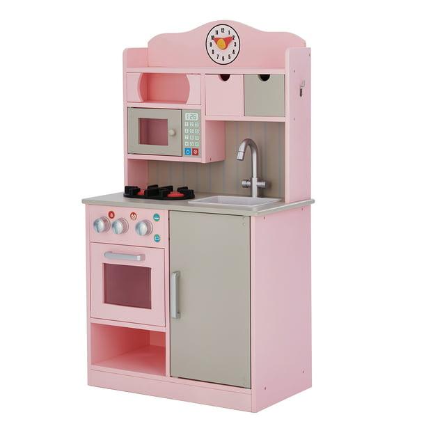 Teamson Kids Little Chef Florence Classic Play Kitchen Pink Grey Walmart Com Walmart Com