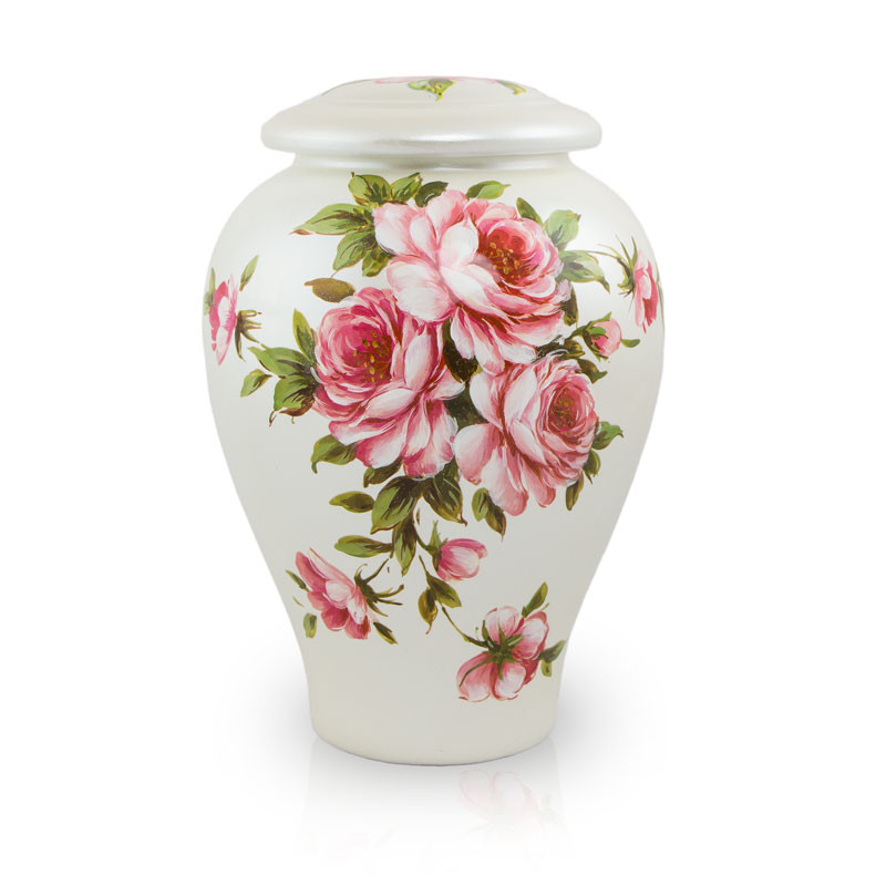 Ceramic Memorial Urn For Loved Ones - Large 200 Pounds -  Pink Rose Bouquet - Engraving Sold Separately