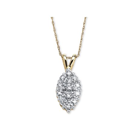 1/10 TCW Pave Diamond Cluster Pendant Necklace in Solid 10k Yellow - Solid White Pendant
