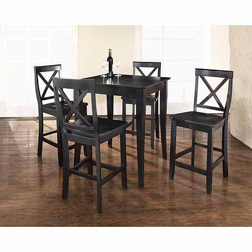 Crosley Furniture 5-Piece Pub Dining Set with Cabriole Leg and X-Back Stools