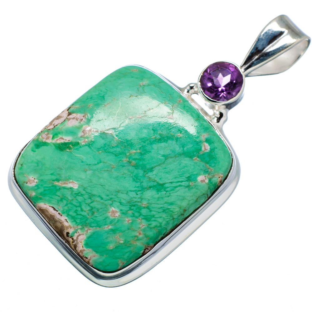"Ana Silver Co Chrysoprase, Amethyst 925 Sterling Silver Pendant 1 7 8"" PD599586 by Ana Silver Co."