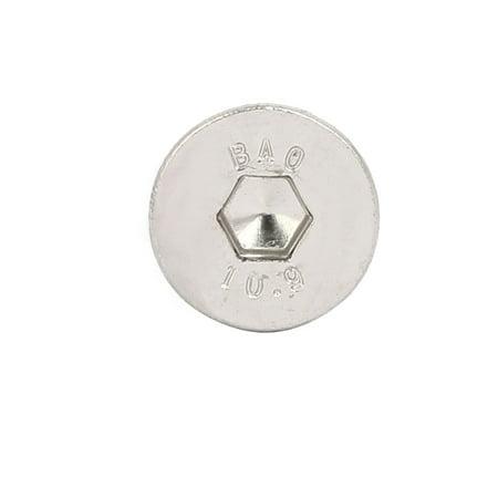 M8x10mm Grade 10.9 Countersunk Flat Head Hex Socket Cap Screw Silver Tone 30pcs - image 2 of 3
