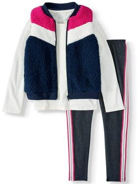 Wonder Nation Sherpa Chevron Vest, Long Sleeve Top and Glitter Track Stripe Legging, 3-Piece Outfit Set (Little Girls, Big Girls & Girls' Plus)