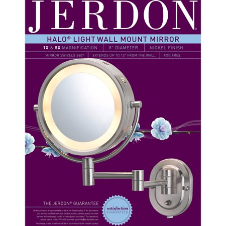 jerdon 8 2 sided swivel halo lighted wall mount mirror 5x jerdon 8 2 sided swivel halo lighted wall mount mirror 5x magnification 14 extension matte nickel walmart com