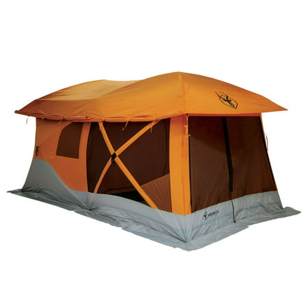 Gazelle Tents T4 Plus Outdoor Pop Up 8 Person Hub Tent with Screen Room, Orange