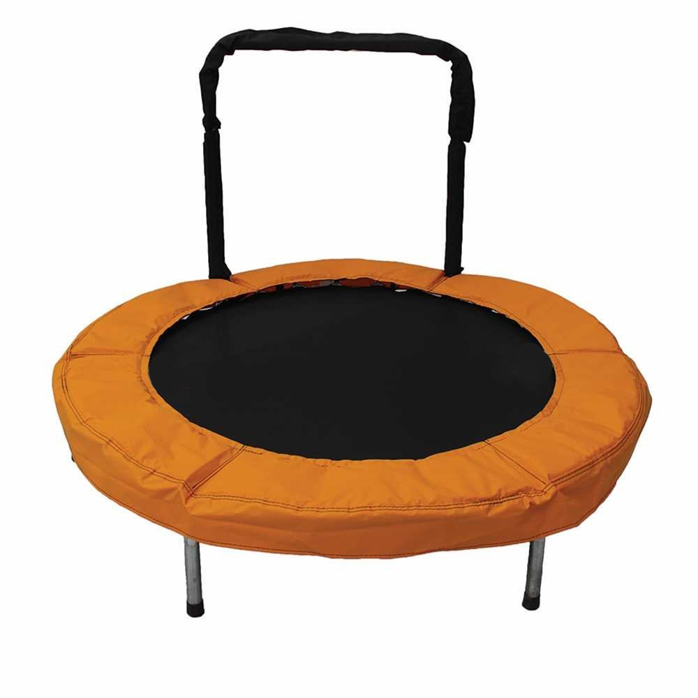 JumpKing 48-Inch Bouncer Kids Mini Small Trampoline with Handrail, Blue, Orange