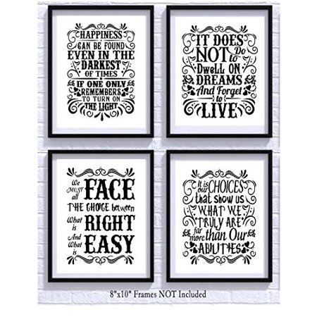 Harry Potter Quotes and Sayings Art Prints | Set of Four Photos 8x10 Unframed | Great Unique Inspirational Harry Potter Gift - Halloween Photos And Quotes