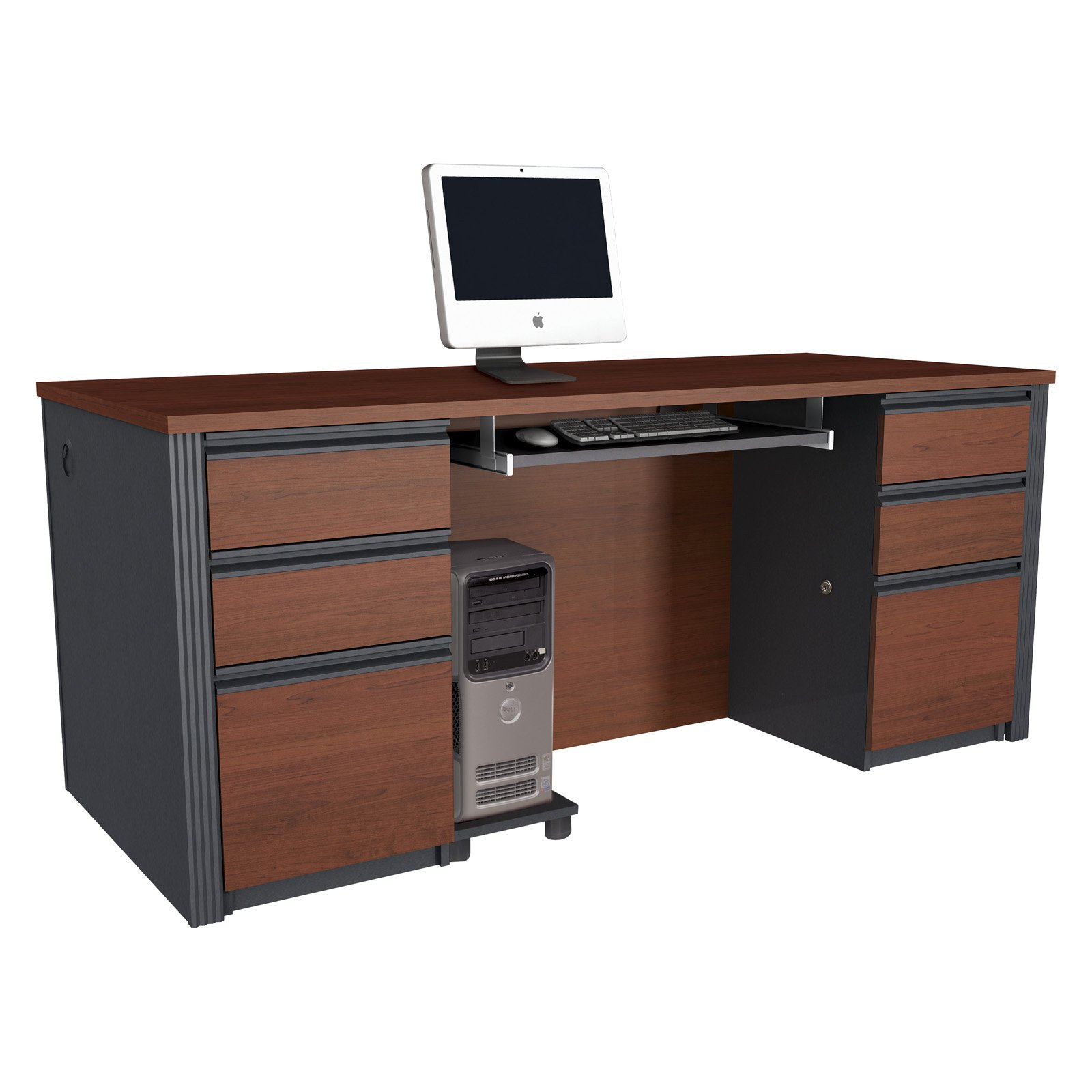 Bestar Prestige Plus Double Pedestal Computer Desk Bordeaux Com