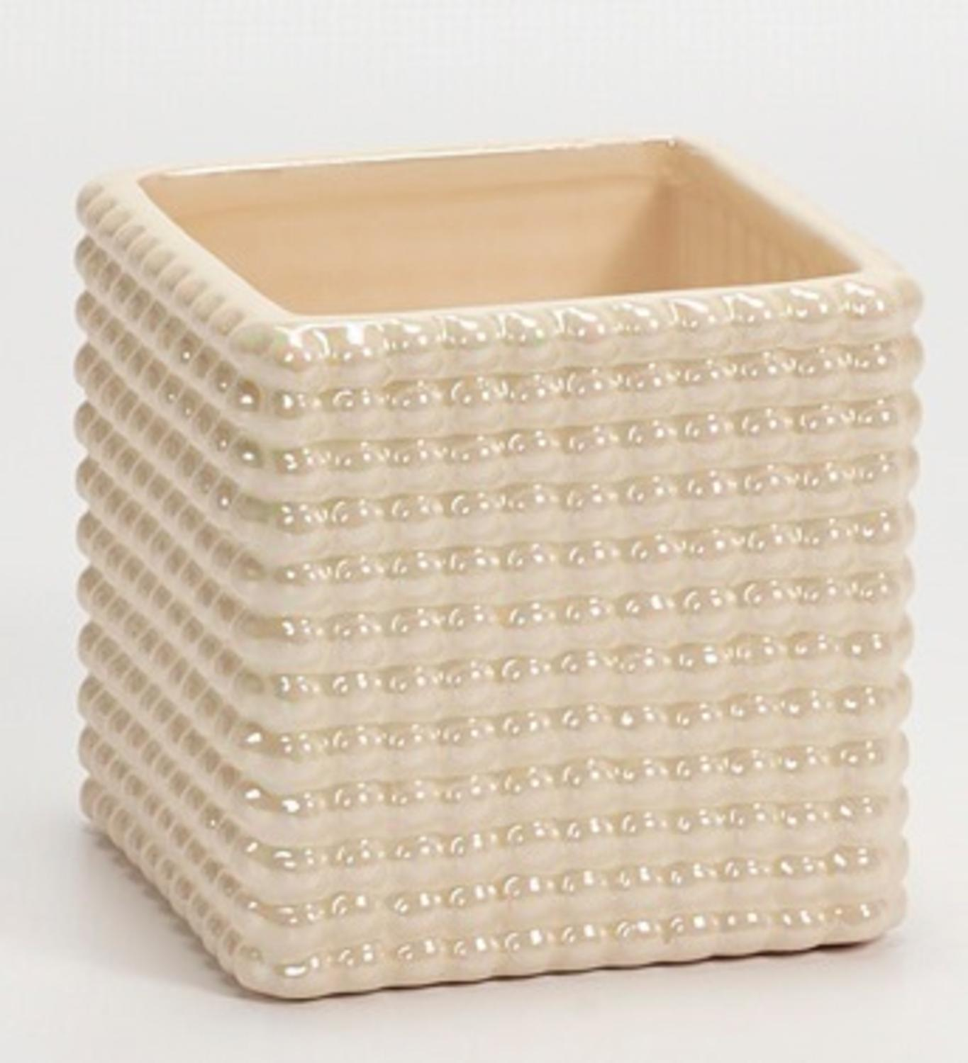 "4.25"" Decorative Iridescent Cream White Cube Planter with Hobnail Design"