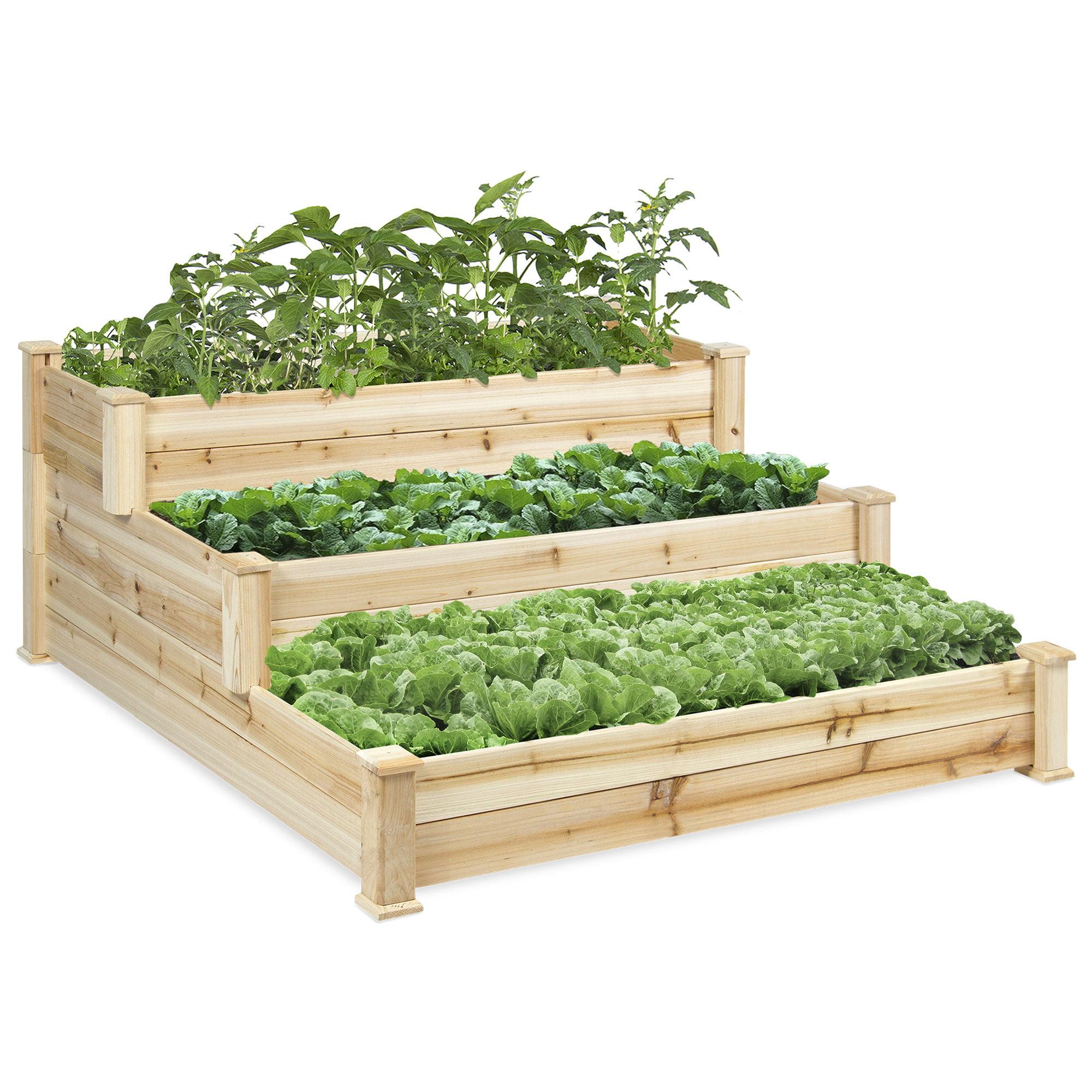 Best Choice Products 3 Tier Wooden Raised Vegetable Garden Bed Planter Kit For Outdoor Gardening Natural Walmart Com Walmart Com