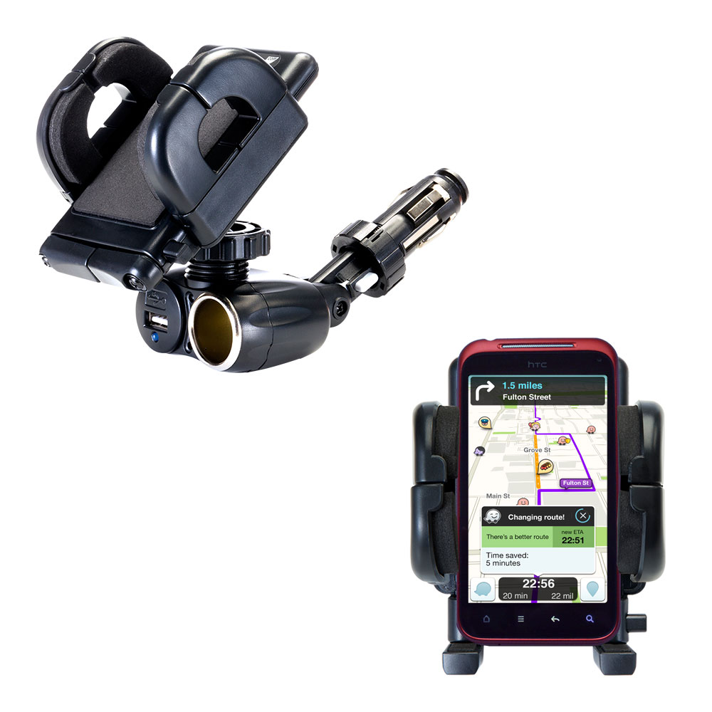 Dual USB / 12V Charger Car Cigarette Lighter Mount and Holder for the HTC Incredible HD