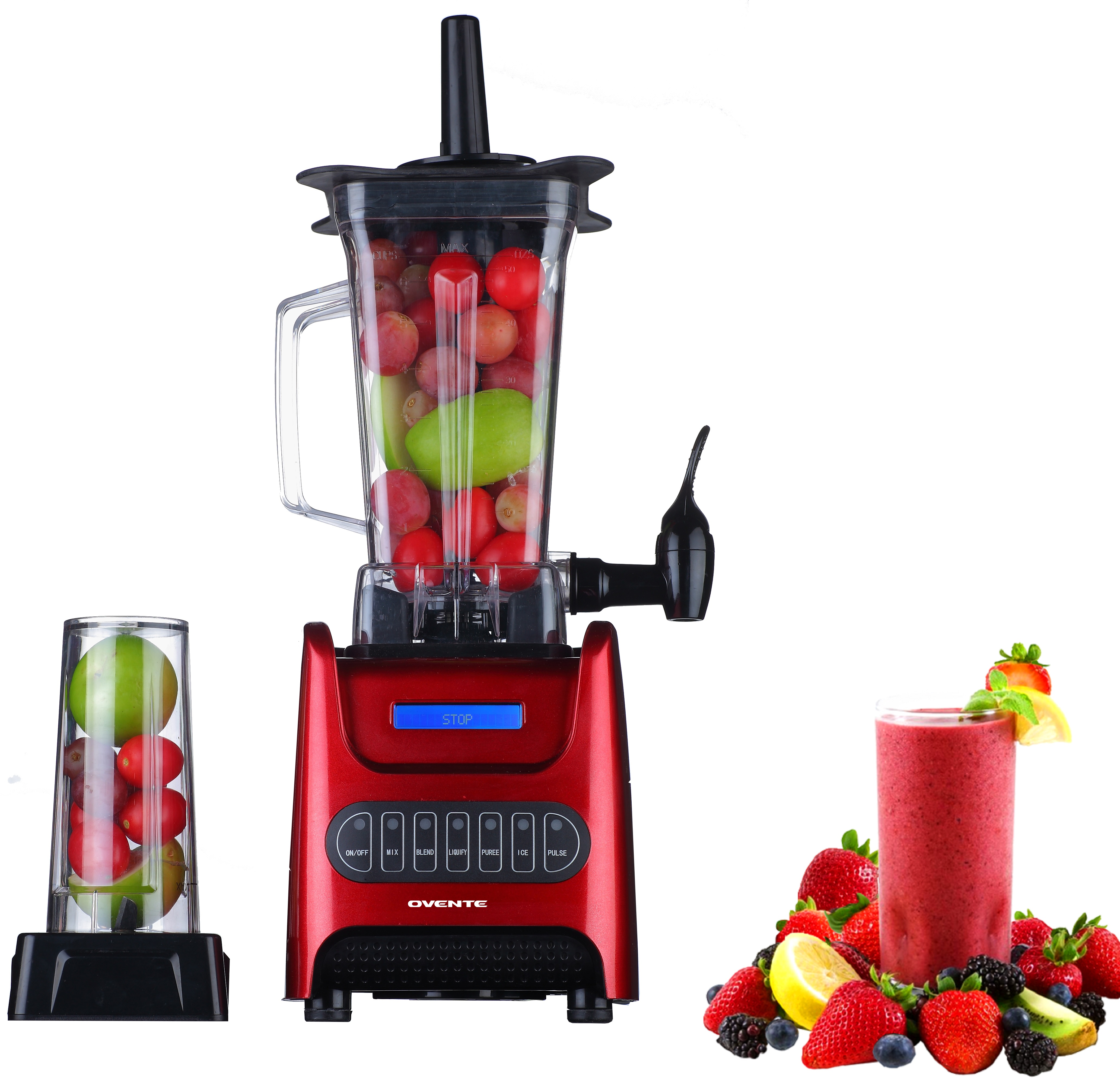 Ovente BLH1000R 1000 Watt Robust Professional Blender with BPA Free 50oz Blender