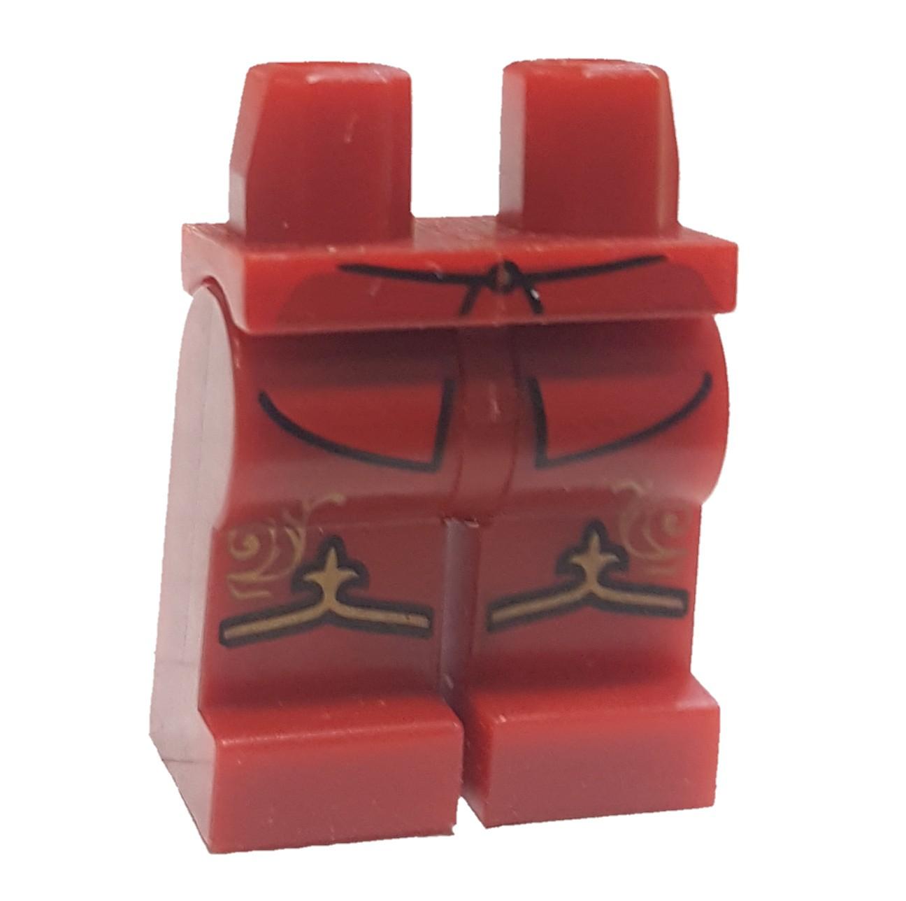 LEGO Dark Red Legs, Shirttails, Gold Band and Fleur de Lis Pattern Loose Legs