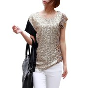 Women's Short Sleeve Pullover Sequined Leopard Prints Black Tee Shirt (Size S / 4)