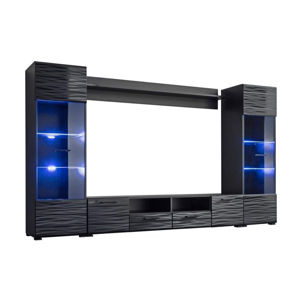 "Modica Modern Entertainment Center 65"" TV Stand Wall Unit with LED Light"