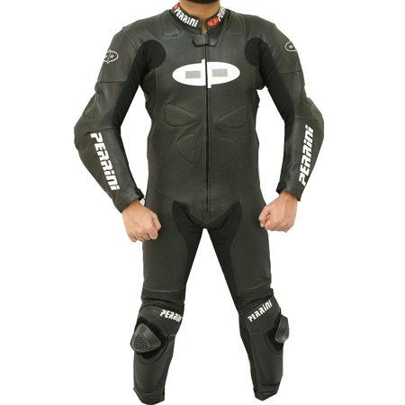 Perrini Fusion 1 PC Black Motorcycle Racing Leather Suit with Hump Perforation and Riding - Leather Riding Suits