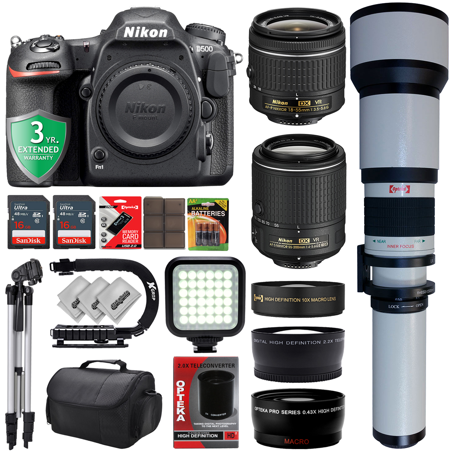 Nikon D500 4K Digital SLR Camera w/ 6 Lens - 18 to 2600mm - 32GB - 32PC Bundle - Nikon AF-P 18-55mm VR Lens - Nikon AF-S 55-200mm VR - Opteka 650-1300mm Zoom - 10x Macro - 0.43x Wide - 2.2x Tele
