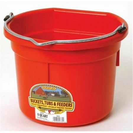 Inc Flat Back Plastic Bucket- Red 8 Quart - P8FBREDA - image 1 of 1