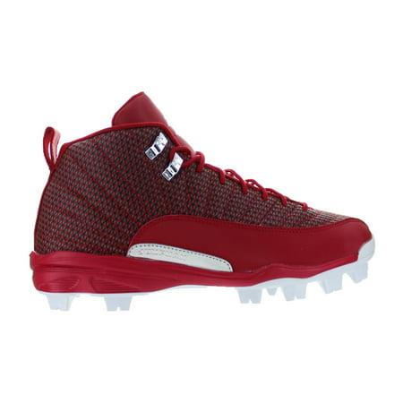 Mens Air Jordan 12 Retro MCS Baseball Cleats Gym Red Metallic Silver W
