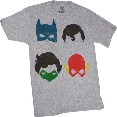 Superhero Group Mask Mug Shot Gray Men's Shirt