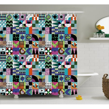 Mid Century Shower Curtain, Mix of Various Different Geometric Shapes in Squares Funky Sixties Revival, Fabric Bathroom Set with Hooks, 69W X 70L Inches, Multicolor, by Ambesonne